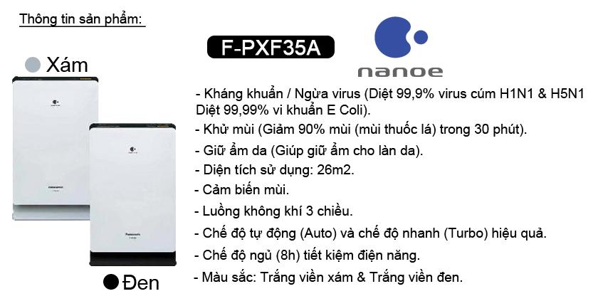Máy lọc không khí Panasonic F-PXF35A. Lọc bụi, khử mùi, diệt vi khuẩn siêu mạnh, công nghệ Nanoe độc quyền của Panasonic. Dùng cho diện tích 26m2