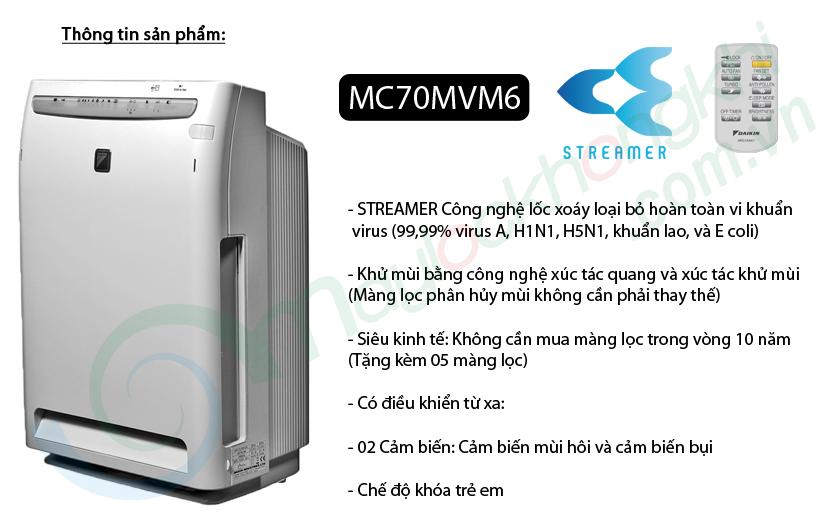 Máy lọc không khí Daikin MC70MVM6, công nghệ lọc khí Streamer và màng lọc tĩnh điện, diện tích phòng sử dụng đến 46m2
