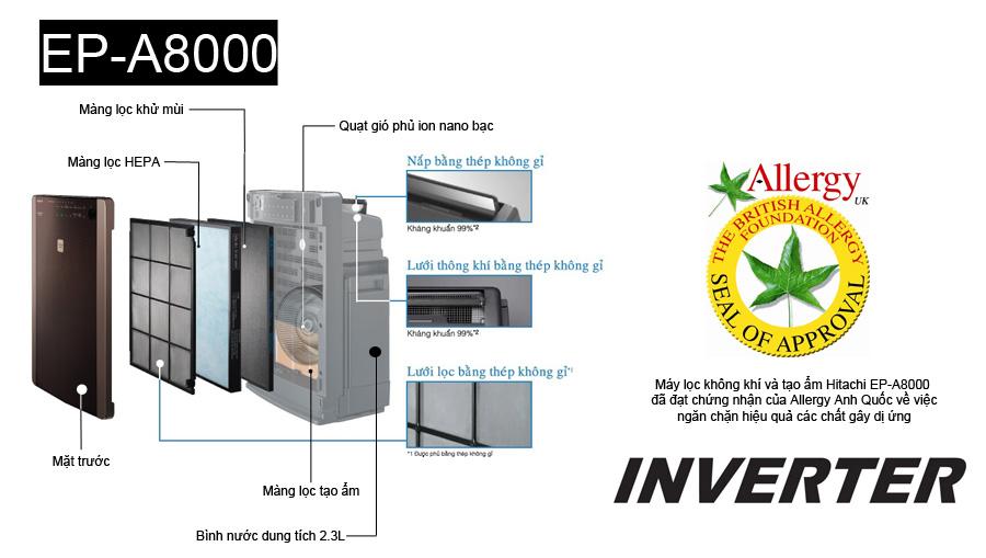 Máy lọc không khí và tạo ẩm Hitachi EP-A8000, nhập khẩu nguyên chiếc Nhật Bản, công nghệ lọc không khí cao cấp