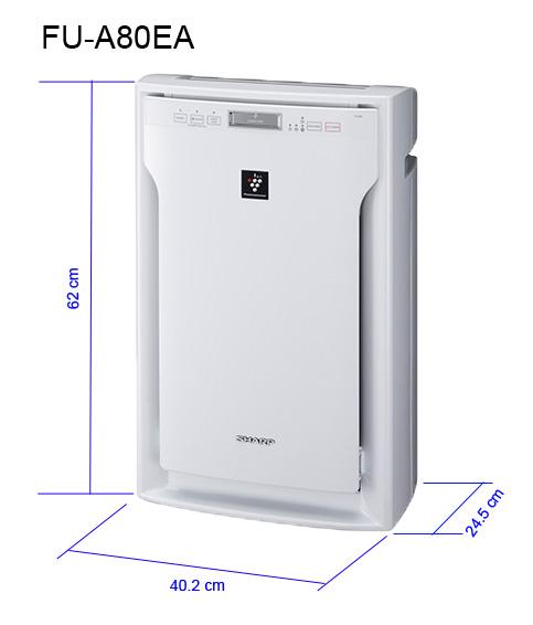 Máy lọc không khí Sharp FU-A80EA-W. Công nghệ Plasmacluster Ion độc quyền lọc không khí sạch vượt trội, hàng chính hãng, nhập khẩu Thái Lan, diện tích sử dụng 62m2