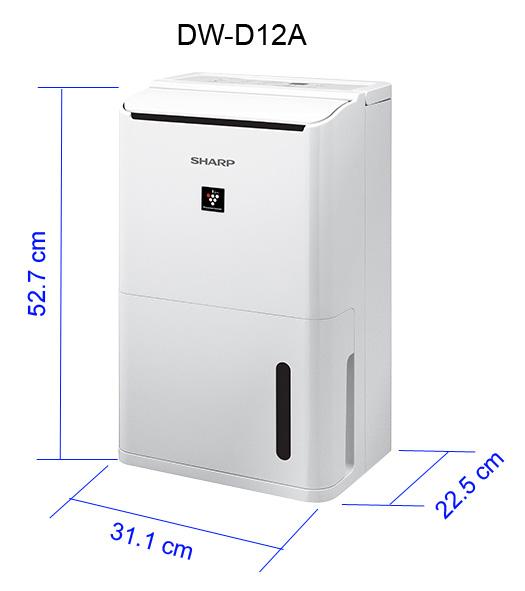 Máy lọc không khí và hút ẩm Sharp DW-D12A, công nghệ Plasmacluster tiêu diệt vi khuẩn. Kết hợp hút ẩm mạnh mẽ.