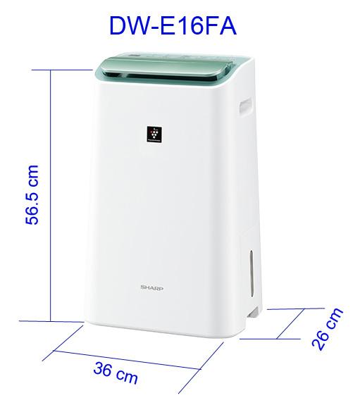 Máy lọc không khí và hút ẩm Sharp DW-E16FA, chức năng 2 trong 1 bao gồm lọc khí và hút ẩm. Công nghệ Plasmacluster Ion và màng lọc HEPA
