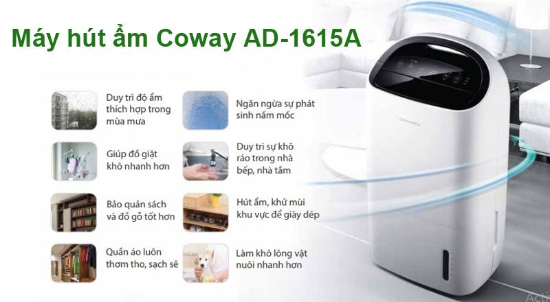 Máy hút ẩm Coway AD-1615A sản xuất tại Hàn Quốc là sự lựa chọn hoàn hảo cho bạn