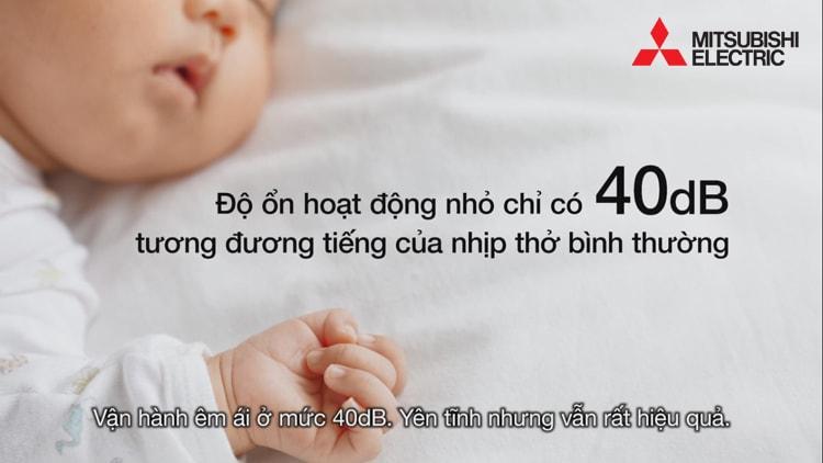 Máy hút ẩm Mitsubishi MJ-E14CG-S1-SWE có độ ồn thấp, không ảnh hưởng đến giấc ngủ