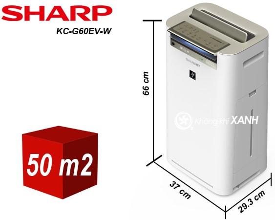 Kích thước máy lọc không khí Sharp KC-G60EV-W