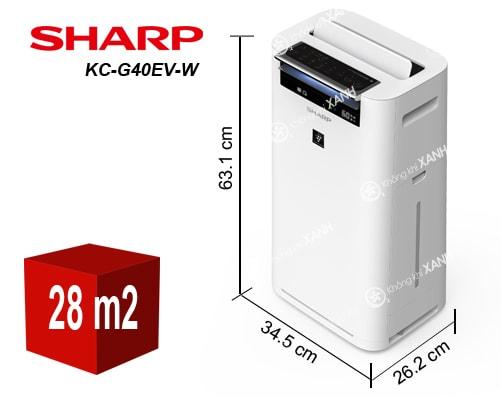 Kích thước máy lọc không khí Sharp KC-G40EV-W