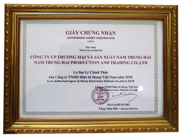 Chứng nhận đại lý Sharp chính hãng - Không Khí Xanh thương hiệu thuộc sở hữu công ty Nam Trung Hải