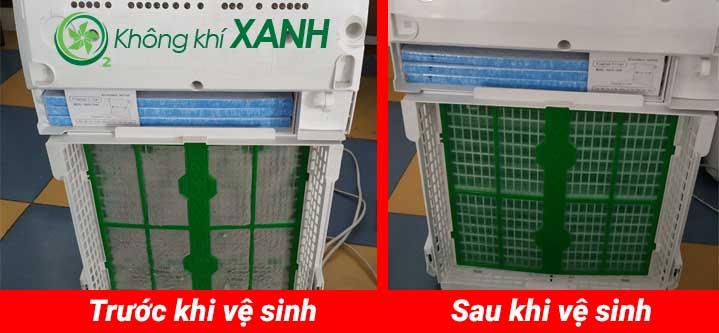Hình ảnh model máy lọc không khí Daikin MC70MVM6 trước và sau khi vệ sinh, bảo trì