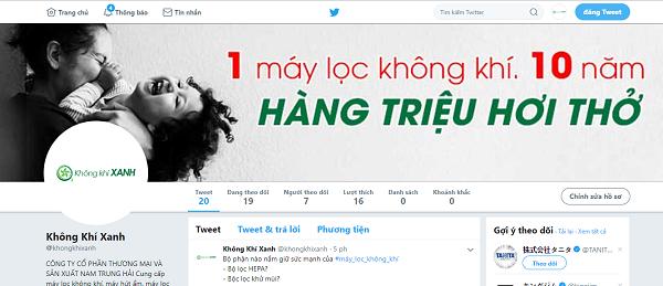 Hình ảnh kênh thông tin Twitter KHÔNG KHÍ XANH