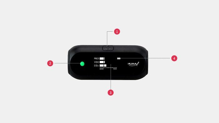 Các nút và hiển thị của thiết bị đo chất lượng không khí Huma-i HI-150 Black