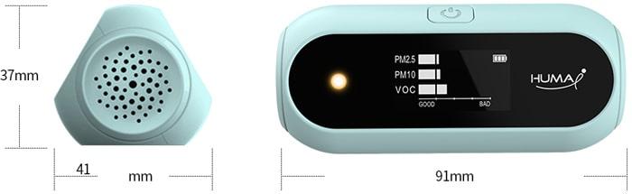 Kích thước nhỏ gọn, có thể bỏ trong túi quần của thiết bị đo chất lượng không khí Huma-i HI-120 Skyblue