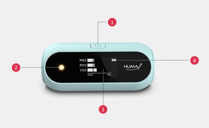 Các nút và hiển thị của thiết bị đo chất lượng không khí Huma-i HI-120 Skyblue