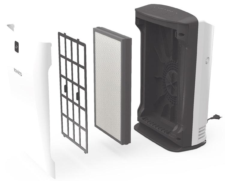 Boneco P304 được trang bị 2 màng lọc cao cấp, bao gồm màng lọc thô và màng lọc kép (HEPA + Than hoạt tính)