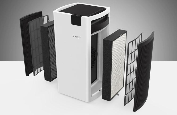 Máy lọc không khí Boneco P700 được trang bị màng lọc thô và màng lọc kép (HEPA + Than hoạt tính) ở 2 bên