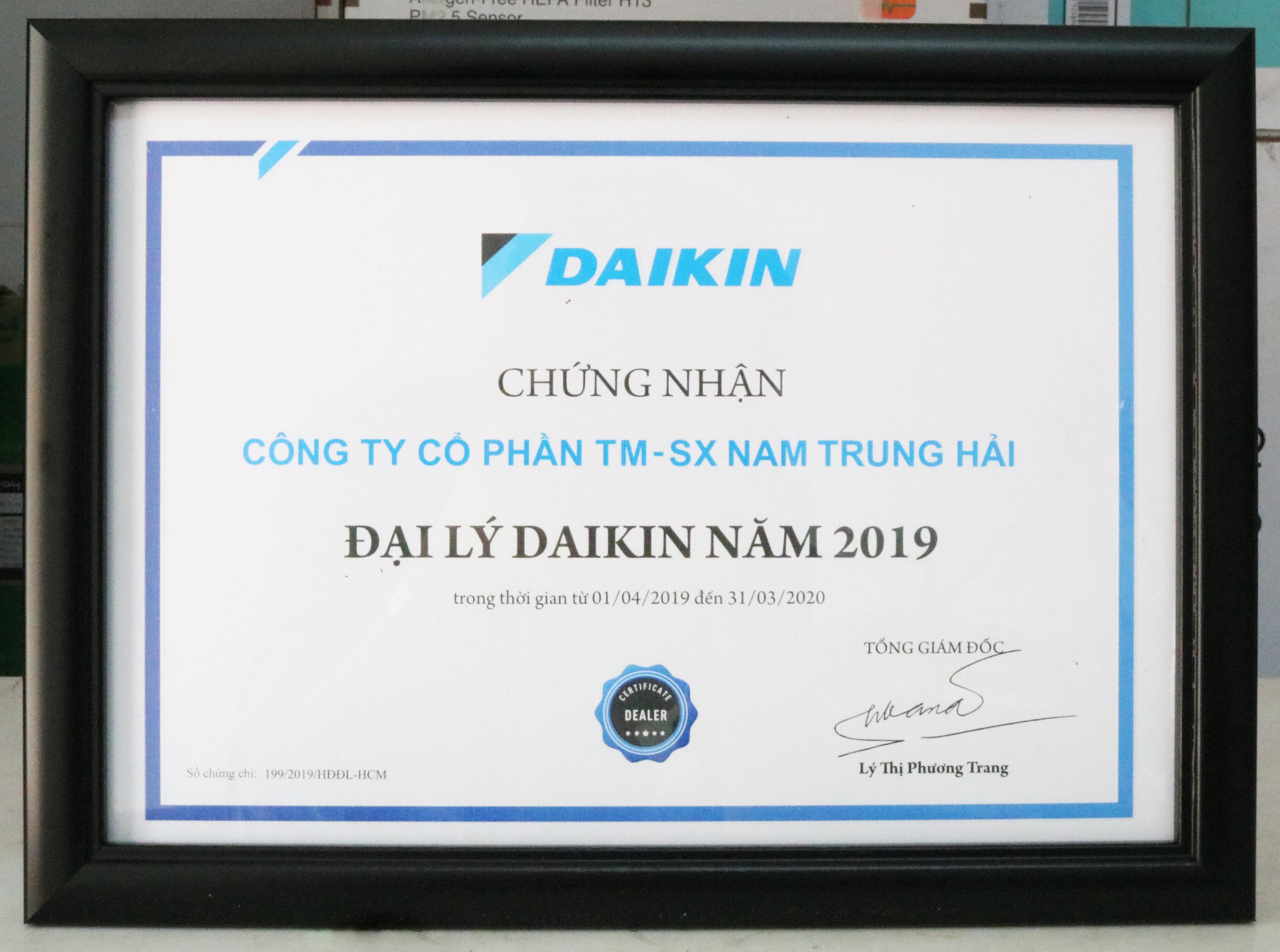Chứng nhận đại lý Daikin chính hãng