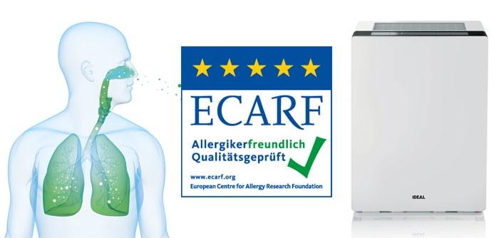 Máy lọc không khí IDEAL AP60 PRO đạt chứng nhận loại bỏ các chất gây dị ứng của Trung tâm nghiên cứu dị ứng Châu Âu (ECARF)