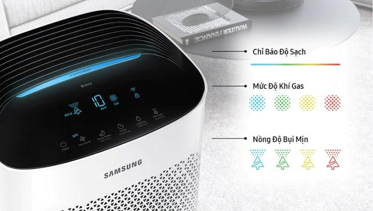 Máy lọc không khí Samsung AX60R5080WD/SV hiển thị chính xác mức độ ô nhiễm bằng màu sắc đèn và báo chỉ số bụi mịn PM1.0 / PM2.5 / PM10