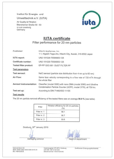 Máy lọc không khí Hitachi EP-PF90J đạt chứng nhận của IUTA loại bỏ 90% các hạt bụi nhỏ tới 0.02 micromet