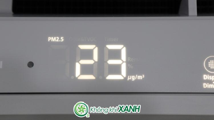 Chỉ số ô nhiễm hiển thị chi tiết trên Hitachi EP-PF120J