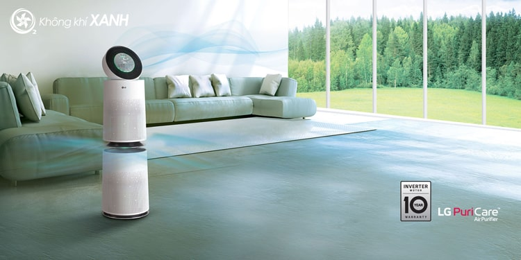 Máy lọc không khí LG Puricare 360 2 tầng AS95GDWV0 có thiết kế hình tròn 360 độ với 2 tầng riêng biệt