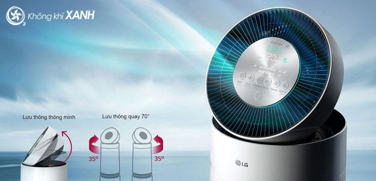 Máy lọc không khí LG Puricare 360 2 tầng AS95GDWV0 hoạt động ở chế độ tăng cường làm sạch