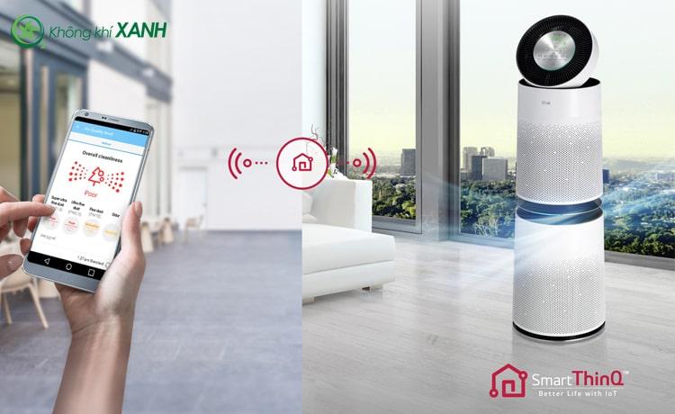 Bật máy lọc không khí LG Puricare 360 2 tầng AS95GDWV0 trước khi về nhà, không khí trong lành sẽ chờ bạn.