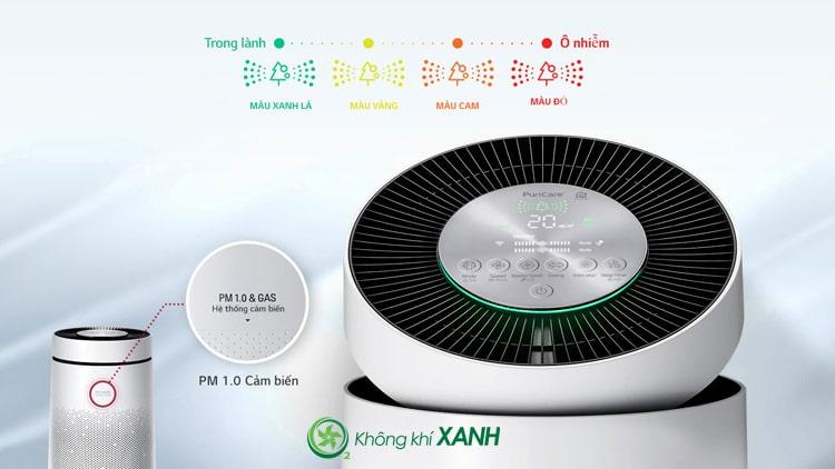 Máy lọc không khí LG Puricare 1 tầng AS65GDWD0 trang bị cảm biến bụi mịn PM1.0 và khí gas