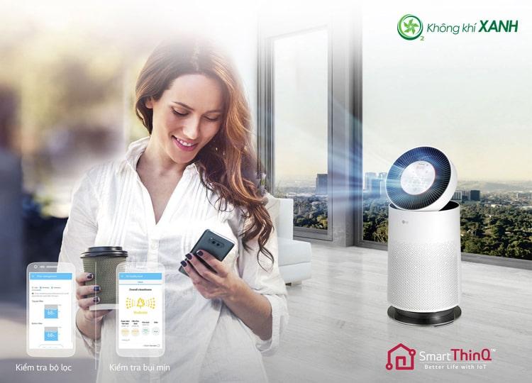 Máy lọc không khí LG Puricare 1 tầng AS65GDWD0 kết nối với smartphone qua wifi bằng ứng dụng SmartthinQ