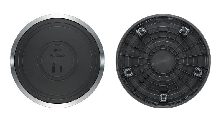 Mặt trên và dưới sản phẩm bánh xe của Máy lọc không khí LG Puricare 1 tầng PWH8DBB