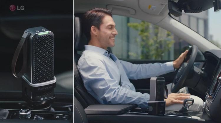 Máy lọc không khí LG Puricare mini nhanh chóng làm sạch không khí trên ô tô của bạn