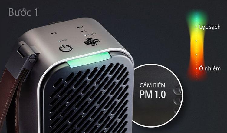 Bước 1: Cảm biến PM1.0 siêu nhạy của máy lọc không khí LG Puricare mini nhanh chóng phát hiện ô nhiễm không khí và thể hiện qua màu sắc