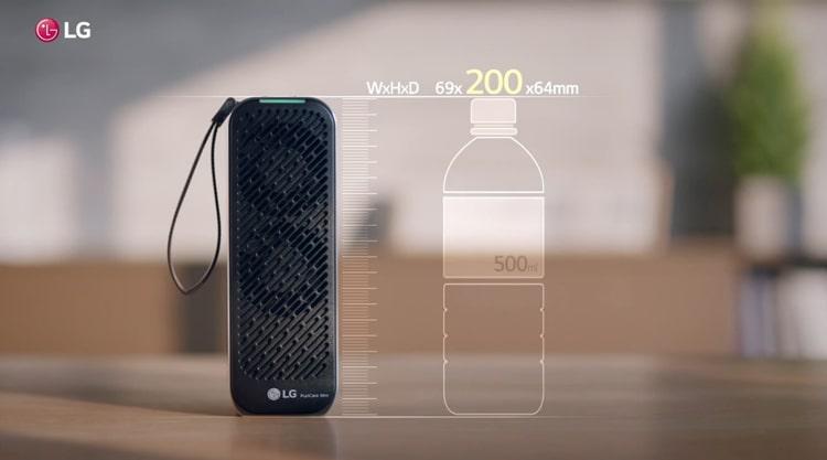 Máy lọc không khí LG Puricare mini nhỏ tương đương chai nước 500mL