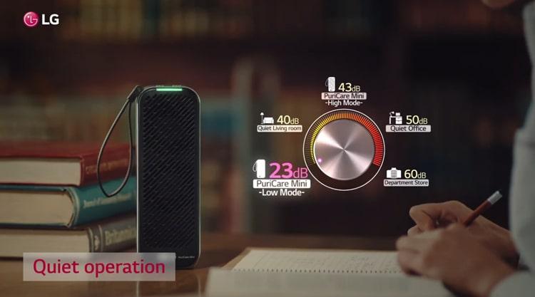 Máy lọc không khí LG Puricare mini với độ ồn chỉ từ 23 – 44 dB