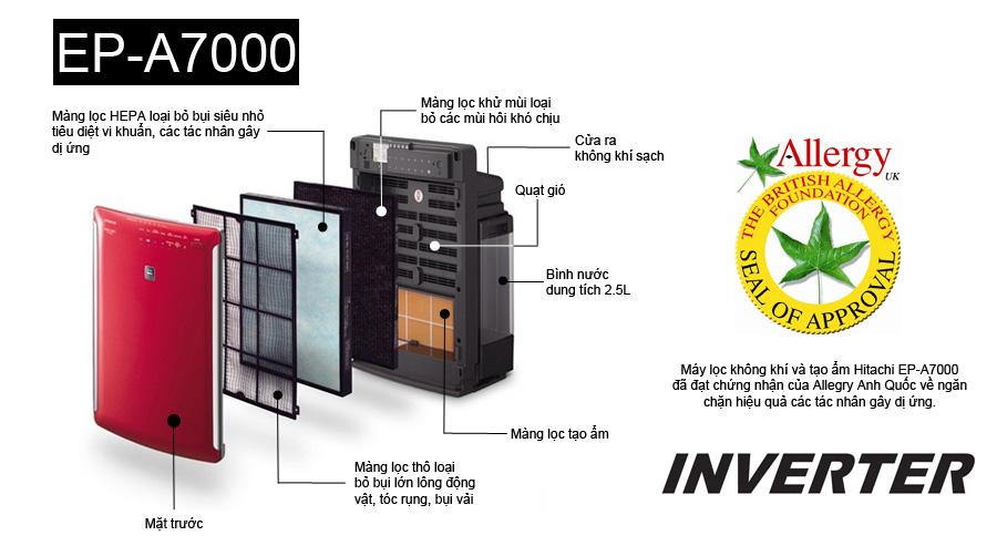 Máy lọc không khí và tạo ẩm Hitachi EP-A7000