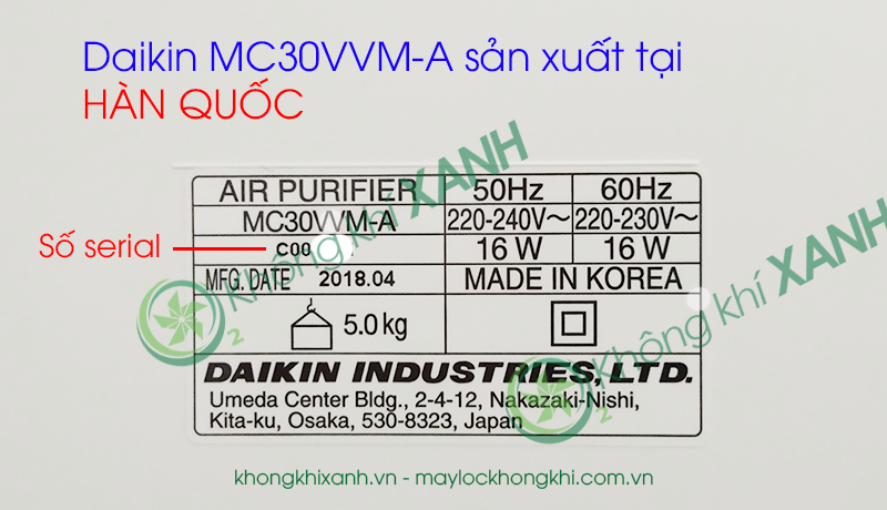 Máy lọc không khí Daikin MC30VVM-A